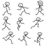 Figura camminata corrente felice del bastone dell'uomo del bastone Immagine Stock Libera da Diritti