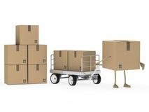 Figura carrello del pacchetto di trasporto di tiraggio Immagini Stock Libere da Diritti
