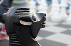 Figura cavallo di scacchi La parte superiore del primo piano Fotografia Stock Libera da Diritti