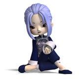 Figura Charming na obscuridade - azul dos desenhos animados da porcelana ilustração royalty free