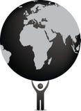 Figura che tiene il mondo royalty illustrazione gratis