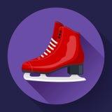 Figura clássica vermelha vetor do gelo do ícone dos patins Equipamento de esporte Vista lateral Fotos de Stock Royalty Free