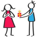 Figura colorida simples homem da vara que dá o presente de aniversário, caixa de presente à amiga ilustração do vetor