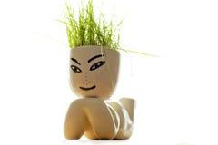 figura con la hierba en su cabeza Fotografía de archivo