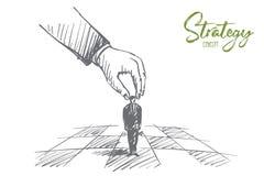 Figura conmovedora dibujada mano del brazo humano como pieza de ajedrez Fotos de archivo