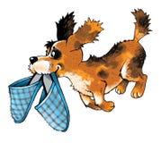 Figura corrente del fumetto delle scarpe da tennis dell'amico divertente del cucciolo Fotografie Stock Libere da Diritti