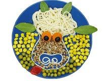 Figura creativa dell'animale della mucca del porridge Fotografia Stock