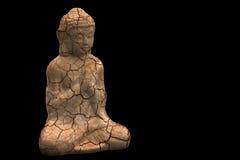 Figura d'annata nella posa di meditazione su fondo nero Immagine Stock