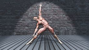 figura 3D masculina na pose do triângulo no interior do grunge ilustração stock