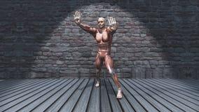 figura 3D masculina na pose estando do estiramento no interior do grunge ilustração stock