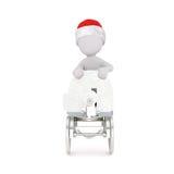 figura 3D no chapéu vermelho que empurra o objeto rodado Imagem de Stock