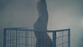 A figura da dança profissional da bailarina no vestido preto no estúdio na gaiola azul grande na nuvem de fumo novo filme
