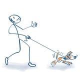 Figura da vara com cão Fotografia de Stock