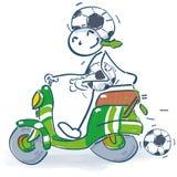 Figura da vara com 'trotinette' como um fã de futebol ilustração royalty free