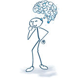Figura da vara com um cérebro ilustração do vetor