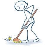 Figura da vara com uma vassoura ilustração royalty free