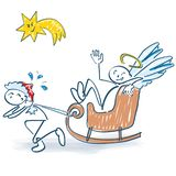 A figura da vara como Nicholas puxa um trenó com um anjo ilustração royalty free