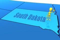Figura da vara do amarelo do estado de South Dakota Imagens de Stock