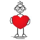Figura da vara do homem da vara que guarda o coração Imagens de Stock Royalty Free