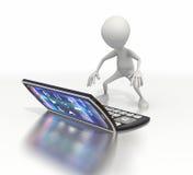 A figura da vara usa o dispositivo móvel gigante ao texto Imagens de Stock Royalty Free