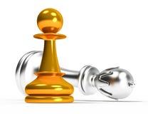 Figura da xadrez do ouro e da prata, checkmate ilustração stock