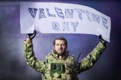 Figura de acción del soldado del hombre del juguete día de San Valentín Fotos de archivo libres de regalías