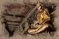 Figura de assento de Buddha Wat Arun, Temple of Dawn é um templo budista ilustração stock