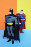 Figura de Batman y del superhombre Imagen de archivo