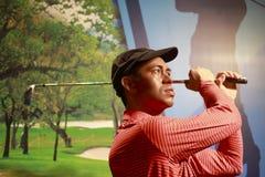 Figura de cera del golfista americano Tiger Woods fotos de archivo