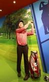 Figura de cera do jogador de golfe americano Tiger Woods Imagens de Stock