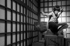 Figura de cera de lee de bruce em tussauds da senhora, Hong Kong foto de stock