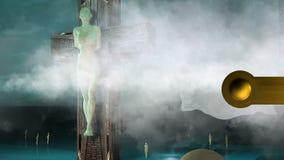 Figura de la animación de la crucifixión con las nubes y las bolas stock de ilustración