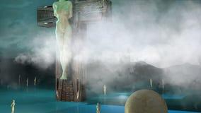 Figura de la crucifixión con las nubes y las bolas almacen de metraje de vídeo