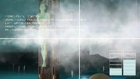 Figura de la crucifixión con las nubes y las bolas stock de ilustración