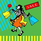Figura de la muchacha morena feliz con los bolsos de compras en un fondo gráfico Tarjeta de la VENTA stock de ilustración