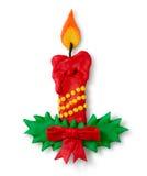 Figura de la plastilina de la vela de la Navidad Foto de archivo