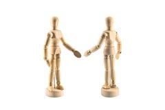 A figura de madeira agita as mãos imagens de stock royalty free