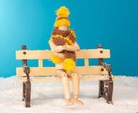 A figura de madeira do homem no banco na congelação Imagens de Stock