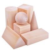 A figura de madeira forma geométrica, isolada no branco fotografia de stock royalty free