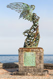 Figura de Nike en la costa en la ciudad de Giardini Naxos Fotos de archivo