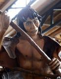 A figura de um tribo indiano no museu Yamana de Tierra del Fuego National Park imagens de stock