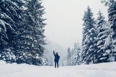 Figura de un hombre que camina con un paisaje del invierno imagen de archivo