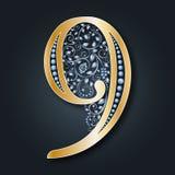 Figura decorativa 9 Ilustração de números florais Números do ouro monogram Teste padrão do vintage Convite do casamento, aniversá ilustração royalty free