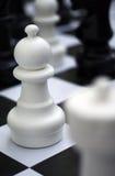 Figura del ajedrez - empeño blanco en el tablero de ajedrez al aire libre Imagen de archivo libre de regalías
