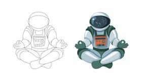 Figura del astronauta que se sienta en la actitud de Buda Meditación en el espacio aislado ilustración del vector