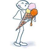 Figura del bastone che mangia il gelato Fotografie Stock
