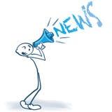 Figura del bastone con il megafono e le notizie illustrazione di stock