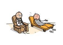 Figura del bastone di uno psichiatra e di un paziente in una sessione di terapia illustrazione vettoriale