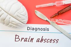 Figura del cerebro, escalpelo quirúrgico, jeringuilla y frascos mintiendo alrededor de la diagnosis Brain Abscess del título Foto fotos de archivo