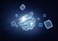 Figura del cubo di alta tecnologia Media misti Fotografia Stock Libera da Diritti